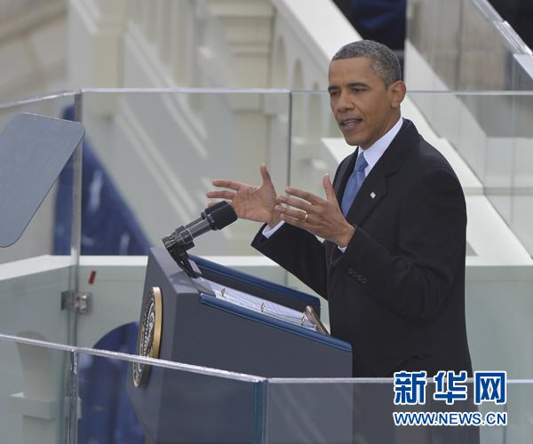 1月21日,美国总统奥巴马在总统就职典礼上发表就职演说。 当日,第57届美国总统就职典礼在首都华盛顿国会大厦西侧举行。新华社记者张军摄