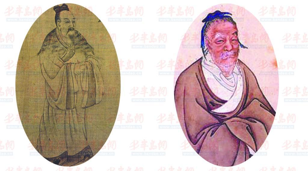 左:周文王姬昌画像+右:姜子牙画像