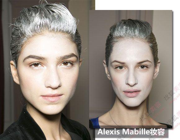 这款T台妆容最特别的就是发型和面部都一白到底,头发上面涂上了