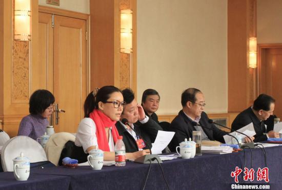 1月24日上午,政协甘肃省第十一届委员会第一次会议继续进行小组会议,讨论甘肃省政府工作报告和计划、财政报告。香港影星彭丹作为甘肃省政协委员在会上发言。张道正 摄