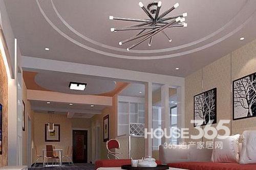 客厅吊顶装修效果图:圆形客厅吊顶装修效果图,摈弃了led灯带,双重
