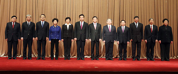 北京市政协十二届一次会议1月25日上午选举产生了新一届领导班子。图为领导班子集体合影。千龙网记者 戚连民摄