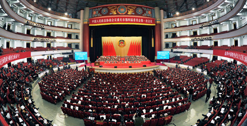 2013年1月25日,政协重庆市第四届委员会第一次会议在重庆市人民大礼堂开幕。记者 熊明 摄
