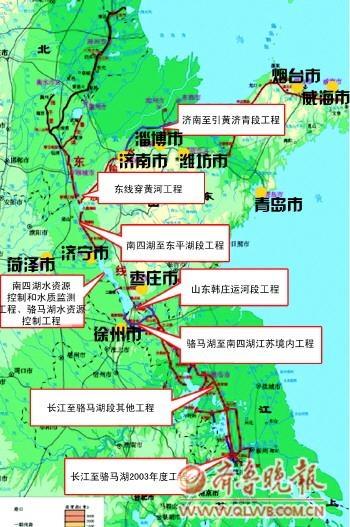 南水北调东线一期工程部分项目示意图-南水北调工程山东段完工 省内