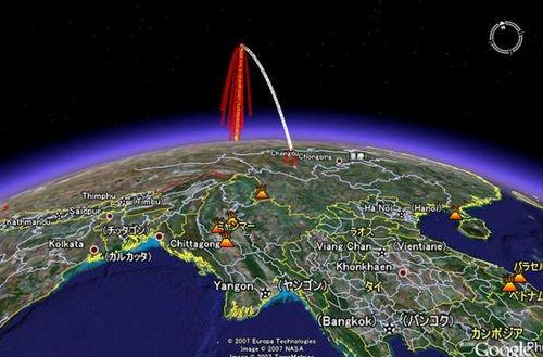 中国曾在07年1月11日进行过反卫星试验,图为国外绘制的中国摧毁报废卫星示意图。
