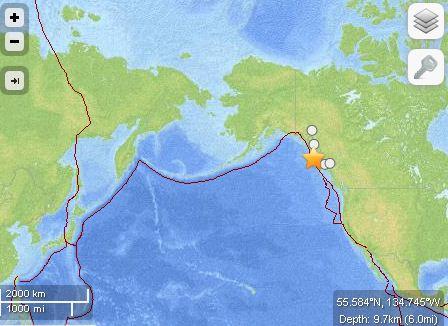 阿拉斯加海岸附近发生6.0级地震
