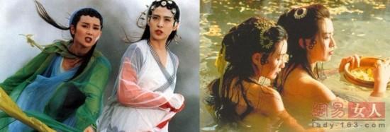 贾静雯/张曼玉与王祖贤在《青蛇》中出浴照,曼玉的肩比祖贤平直