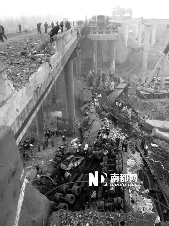 2月1日,拍摄到的河南义昌大桥垮塌现场。C FP供图