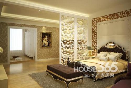 欧式卧室装修效果图 :奢华大气欧式卧室,白色的镂空隔断设计,白色的