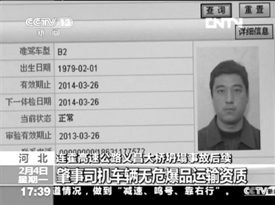 河北省公安厅交通管理局查到的肇事司机信息。视频截图
