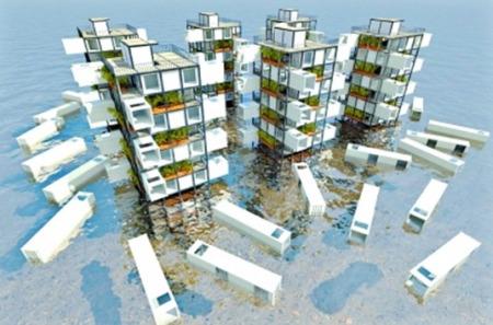 大学生设计未来城:集装箱搭楼房 海啸时当救生筏(图)图片