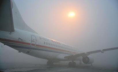 双流机场大雾,大量航班延误。(机场供图)