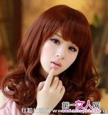 a长发可人2013最新韩式长发发女生v长发烫发发瓜子脸时尚中长卷扎发图片