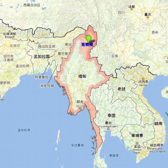 缅甸克钦邦位置示意图,遭缅甸取消的密松电站项目即位于该邦内.
