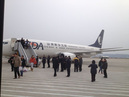 """图:今天下午山航sc1170航班接到恐吓电话,备降在合肥机场。图片来源""""月奈Jolie""""微博"""