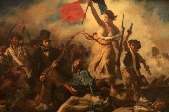 法卢浮宫名画《自由引导人民》被游客画911标记