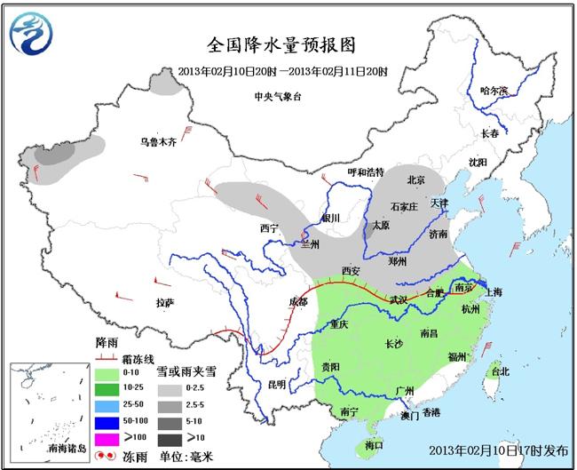 中央气象台预计,未来24小时,新疆西部、西北地区东部、华北、黄淮、江淮北部等地的部分地区有小雪或雨夹雪;西南地区东部、江淮大部、江南、华南大部等地有小雨。