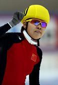 图文:[短道速滑]世界杯德国站 王濛庆祝胜利