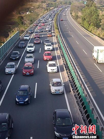 图为粤赣高速车流量大。 颜新阳 摄