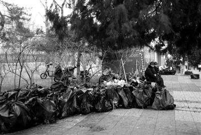 13日,龙潭庙会,小吃一条街上产生了大量的餐饮垃圾。新京报记者 韩萌 摄