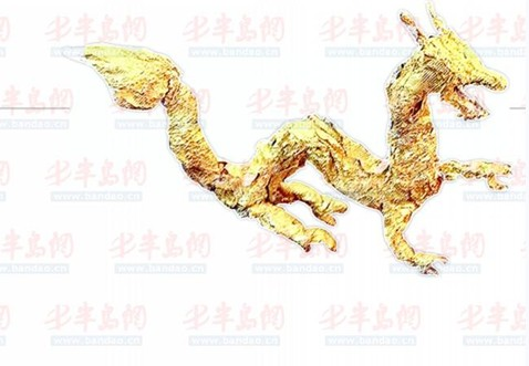 糖果锡箔纸捏成中国龙 青岛技