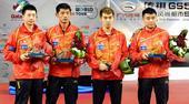 图文:[乒乓球]卡塔尔赛颁奖 男双冠亚军组合