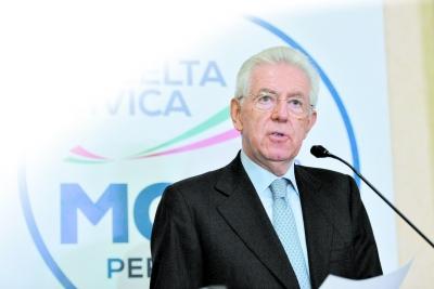2月25日,在意大利首都罗马,意大利看守总理蒙蒂出席新闻发布会.