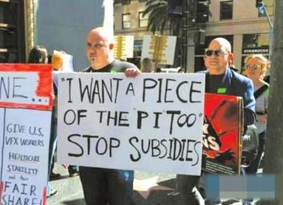 奥斯卡颁奖时,特效公司的支持者在抗议。