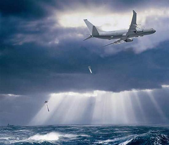 军事声呐_日本强行侦测中国潜艇位置P3C低空投声呐浮