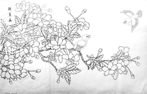 电脑上wap网:工笔花卉《樱花》的设色方法_景观设计软件手绘_理念篇图片