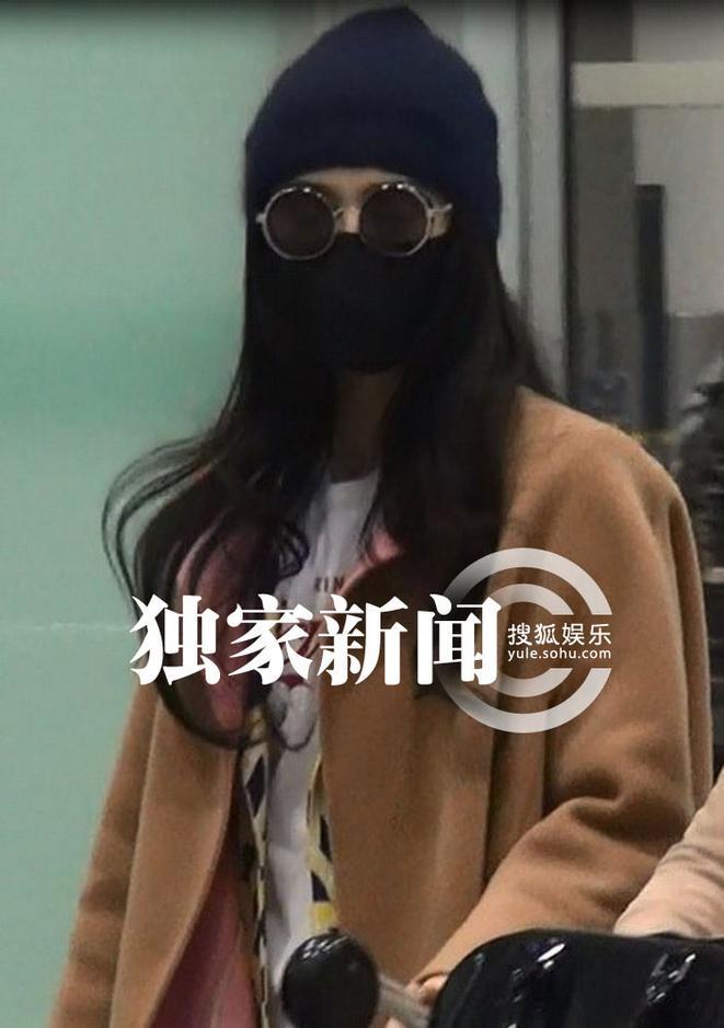 范冰冰/范冰冰潮范儿返京超大口罩配墨镜似戴防毒面具(组图)