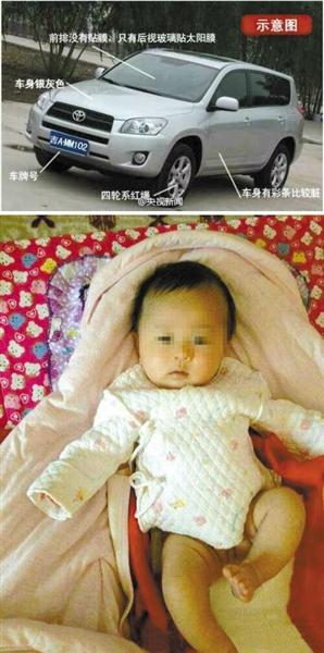 被盗的汽车特征图。(上图)随车丢失的婴儿。(下图)