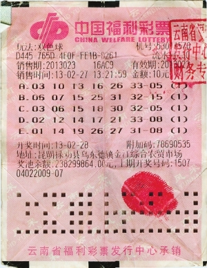 双色球第2013023期千万中奖彩票
