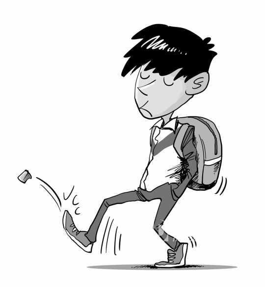 小孩背书包上学图片