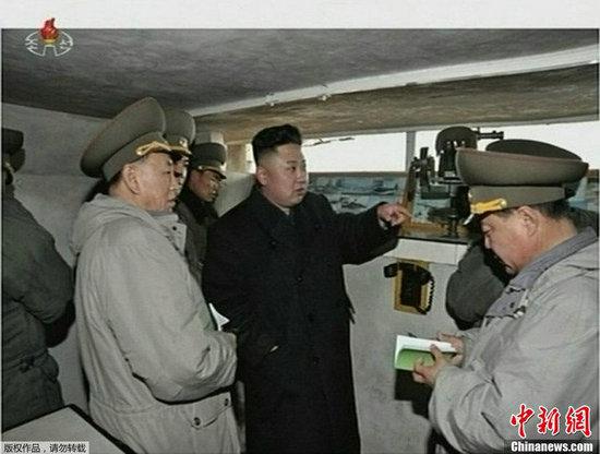 资料图:金正恩下令备战视察前线。