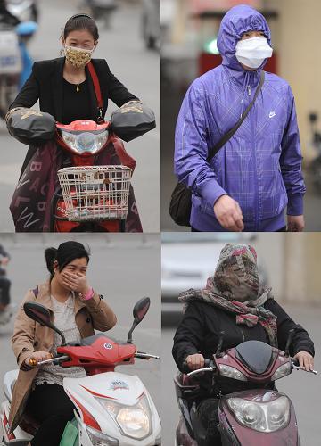 """3月9日,在郑州街头,市民""""全副武装""""出行(拼版照片)。新华社记者 李博 摄"""