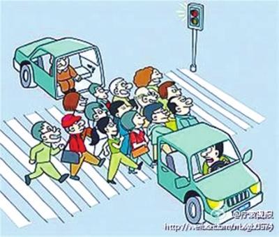 走斑马线卡通红灯-杭州处罚 中国式过马路 引争议图片