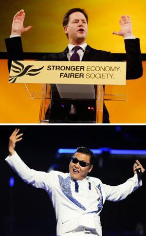 英国副首相演讲手舞足蹈,酷似鸟叔跳江南Style。(网页截图)