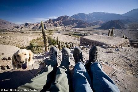 """汤姆和维莉蒂在阿根廷的""""脚丫合照"""",一只小狗也过来凑热闹"""