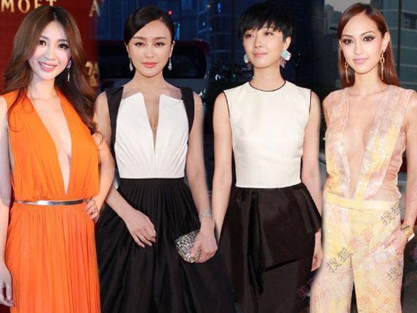 3月18日,亚洲电影大奖颁奖礼在香港举行,女星着上清凉礼服,发型