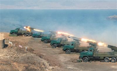 朝鲜官方媒体发布的朝军军演照片,未透露照片拍摄时间和地点。