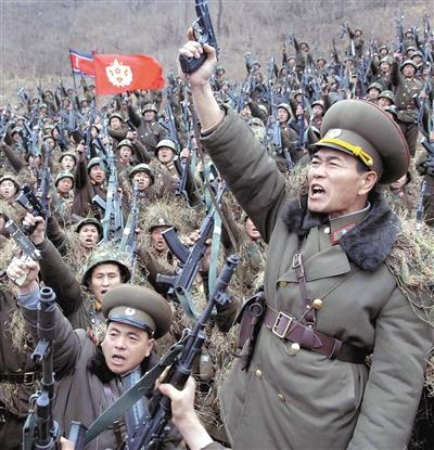 """朝鲜官方媒体3月20日发布照片表示""""朝鲜人民军""""已经做好了与韩国和美国作战的准备。"""