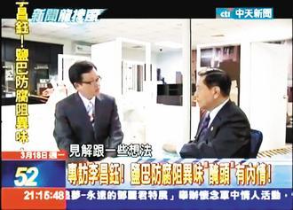 """戴立纲左专访李昌钰博士,分析""""盐腌头颅案""""。《联合报》记者阙志儒/翻摄"""