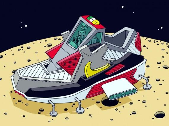 组图:球鞋变飞船 经典球鞋遨游太空漫画