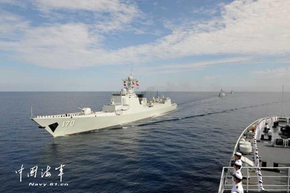 中国 南海/资料图:中国海军大编队航行至曾母暗沙。