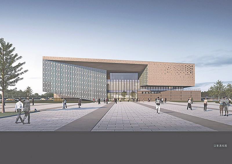 文博中心西侧对应城市快速道路,采用完整连续的建筑立面形象,与图片