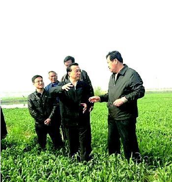 28日,李克强在常熟农田考察。