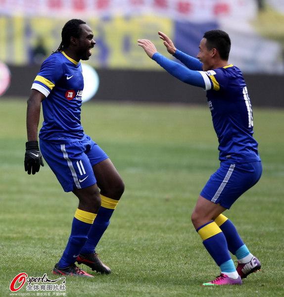 中超图:阿尔滨3-3东亚 陈涛乌塔卡庆祝