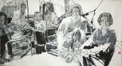 马国强1952-《高原》设色纸本84x152厘米