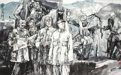 袁汝波(1956-)《风雨大别山》设色纸本121x192厘米
